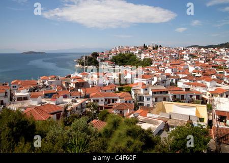 cityscape Skiathos Town on Skiathos Island, Northern Sporades, Greece - Stock Photo