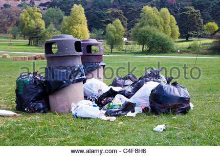 a pile of black plastic rubbish bags and two rubbish bins awaiting refuge collection in a country park - Stock Photo