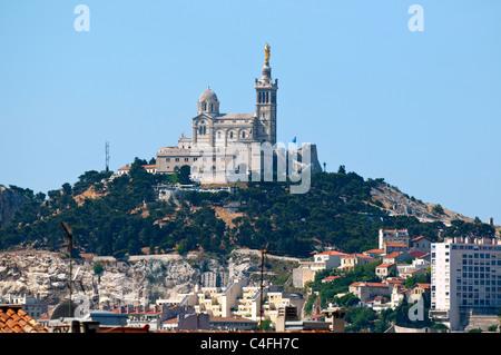 View of Marseille and basilica Notre-Dame de la Garde. France. - Stock Photo