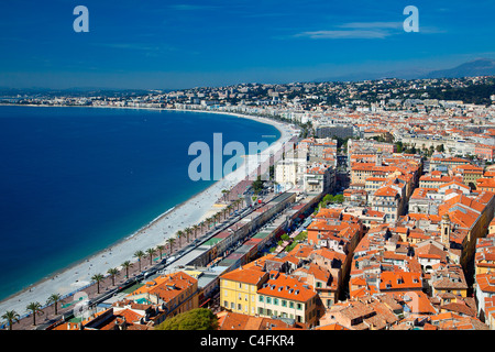 Europe, France, Alpes-Maritimes (06), Beach and Promenade des Anglais in Nice - Stock Photo
