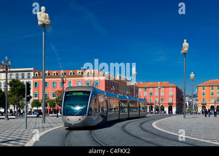 Europe, France, Alpes-Maritimes (06), Streetcar in Place Massena in Nice - Stock Photo