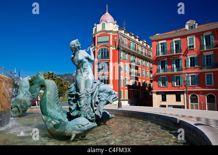 Nice, Old Town, Place Massena, Fontaine du Soleil (Fountain of the Sun) - Stock Photo