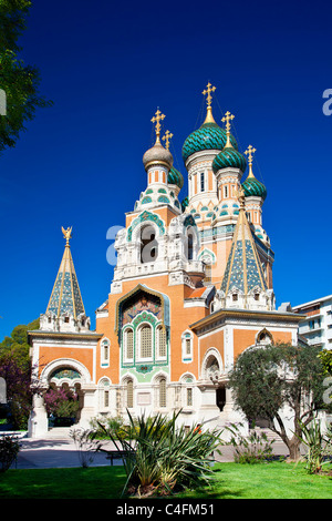 France, Alpes Maritimes, Nice, Russian Orthodox Cathedral of St Nicolas and St Alexandra built in 1859 on Boulevard - Stock Photo