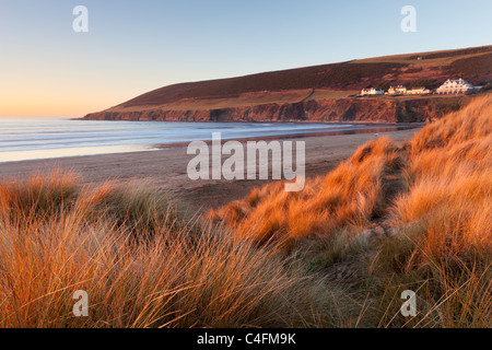 Saunton Sands and Saunton Down from the sand dunes at Braunton Burrows, Devon, England. Winter (January) 2011. - Stock Photo