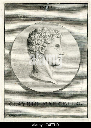 Classical portrait of Marcus Claudius Marcellus 268 BC to 208 BC five times elected as consul of the Roman Republic - Stock Photo
