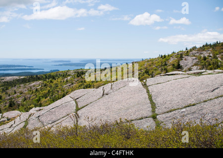 View from the summit path on Cadillac Mountain in Acadia National Park on Mount Desert Island in Maine, USA. - Stock Photo