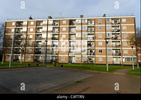Block of council flats, Hackney, London, UK - Stock Photo
