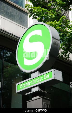 THe S-bahn station sign for the Brandenburger Tor (Brandenburg Gate) station - Stock Photo