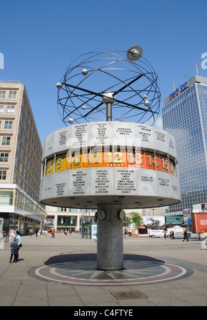 The Weltzeituhr World Time Clock in Alexanderplatz, ex East Berlin - Stock Photo