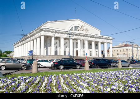 Russia , St Petersburg , neo classical facade of the Naval Museum erstwhile Stock Exchange built 1810 - Stock Photo