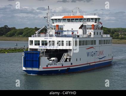 Car Ferry leaving Lymington, Hampshire, bound for Yarmouth, Isle of Wight, England, UK - Stock Photo