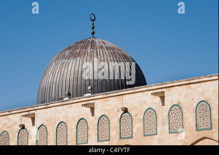 The dome of the Al-Aqsa Mosque on the Haram al-Sharif, also known as the Temple Mount, in the Old City of Jerusalem. - Stock Photo