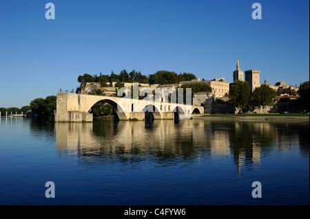 france, provence, avignon, rhone river, saint benezet bridge and papal palace - Stock Photo