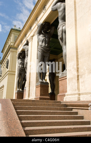 Russia St Petersburg Hermitage Museum Winter Palace main entrance portico ten 16 ft bronze Atlantes or Atlas statues - Stock Photo