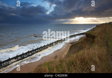 Stormy conditions at Corton on the Suffolk Coast - Stock Photo