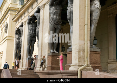 Russia , St Petersburg , Hermitage Museum Winter Palace , main entrance portico with ten 16 ft bronze Atlantes or - Stock Photo