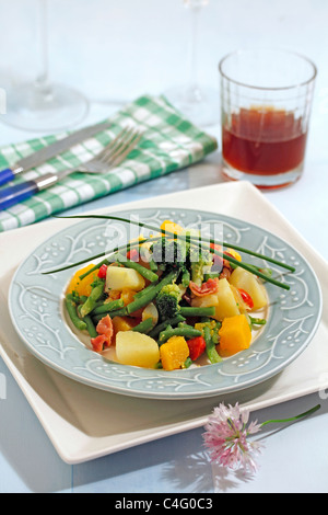 Stewed and mixed vegetables . Recipe available. - Stock Photo