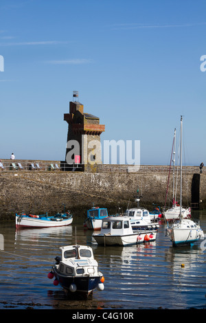 Tiny picturesque North Devon harbour and Lynmouth Bay, England, UK - Stock Photo