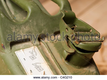 Camping equipment used by explorer Kypros in Africa - jerry can fuel container - Stock Photo