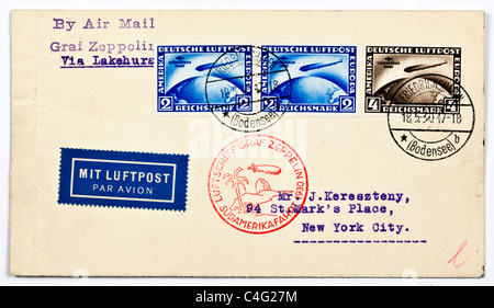 An envelope sent by the German airship Graf Zeppelin from South America to the addressee in New York City date stamped - Stock Photo