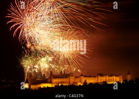 Bastille Day firework display over Carcassonne, Aude, Languedoc-Rousillon, France - Stock Photo