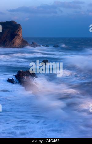 stormy seas at Man O War Bay, Jurassic Coast, Dorset, England - Stock Photo