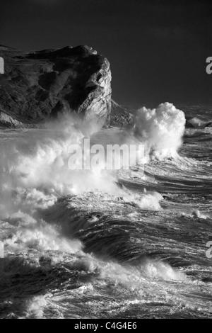 waves breaking at Man O Bay, Jurassic Coast, Dorset, England - Stock Photo