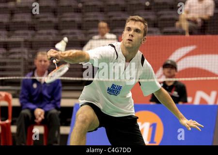 Jan O Jorgensen of Denmark during the Men's Singles Round 1 of the Li-Ning Singapore Open 2011. - Stock Photo