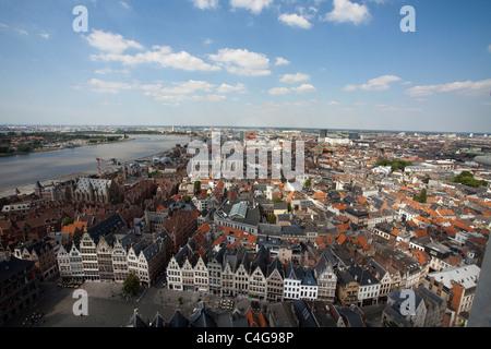 view Antwerp from sky - Antwerpen City view - Stock Photo