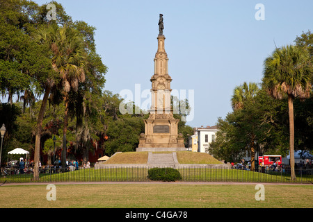 Monument to the Confederate dead, Forsyth Park, Savannah, Georgia - Stock Photo