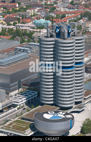 An aerial view of BMW world headquarters known as the BMW-Vierzylinder, or BMW four-cylinder in English in Munich, - Stock Photo