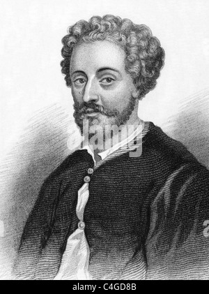 John Fletcher (1579-1625) on engraving from 1800s. Jacobean playwright. Engraved for Townsend Alphabetical Chronology. - Stock Photo