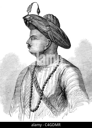 Tipu Sultan (1750-1799) on engraving from 1800s. Also known as the Tiger of Mysore. - Stock Photo