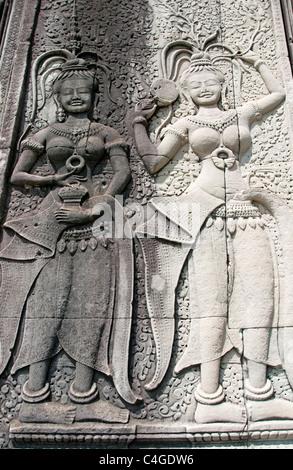 Apsaras celestial dancers at Angkor Wat, Siem Reap, Cambodia - Stock Photo