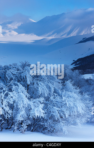 the Piano Grande in winter, Monti Sibillini National Park, Umbria, Italy - Stock Photo