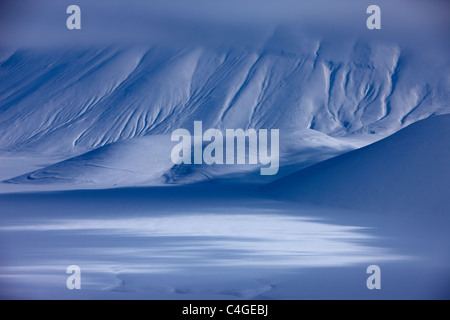 the Piano Grande in winter, Monti Sibillini Nationla Park, Umbria, Italy - Stock Photo
