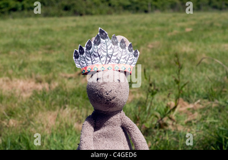 Child's Toy Rabbit, in Countryside, Isle of Wight, England, UK, GB. - Stock Photo