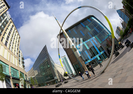 Alliance sculpture by Jean-Bernard Metais outside John Lewis Store and Central Library St David's Shopping Centre - Stock Photo
