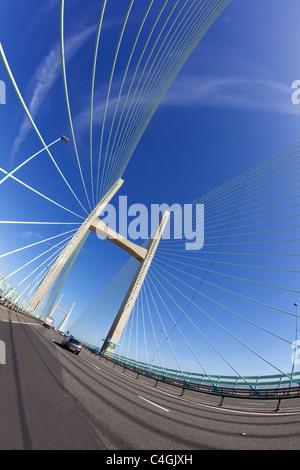 Fisheye photo of the New Second Severn Bridge Gloucestershire England UK GB British Isles - Stock Photo