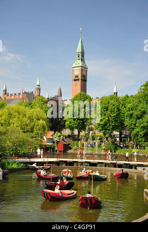 Dragon Boat Lake, Tivoli Gardens, Copenhagen, Hovedstaden Region, Denmark - Stock Photo