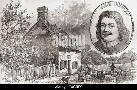 John Bunyan's cottage in Elstow, Bedfordshire, England seen in the late 19th century. John Bunyan, 1628 – 1688. - Stock Photo