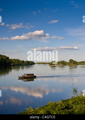 Wooden motor boat on the River Loire at Candes St Martin, Loire Valley, France - Stock Photo