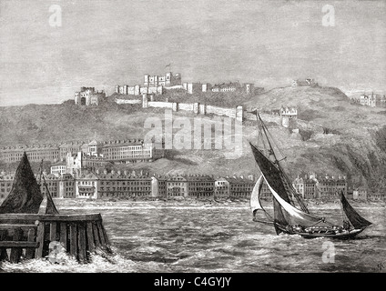 Dover, Kent, South East England, seen from the sea in the late 19th century. - Stock Photo