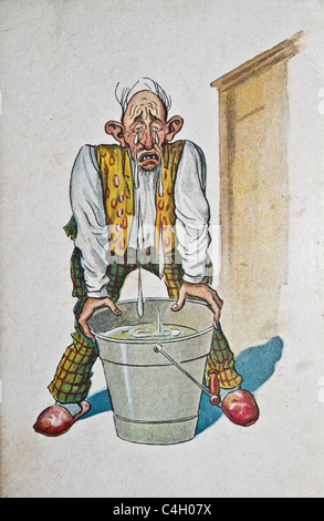 vintage postcard - old man crying - Stock Photo