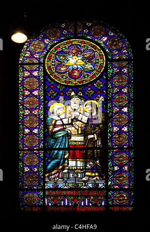 Stained glass window depicting the Marriage of Joseph and Mary. Montserrat Abbey. Catalonia. Spain. - Stock Photo