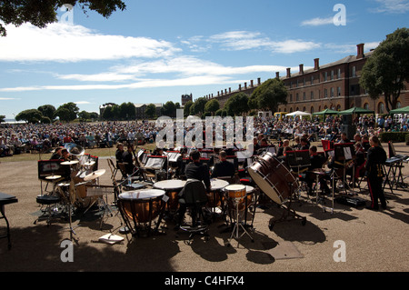 Outdoor concert by Her Majesties' Massed Bands at the Royal Marines Museum in Eastney, Portsmouth, Hampshire, UK - Stock Photo