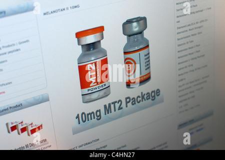 Image of web site selling melanotan tanning drugs - Stock Photo