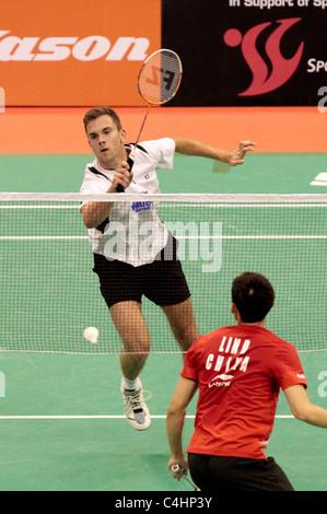 Jan O Jorgensen of Denmark during his Men's Singles Round 2 match, Li-Ning Singapore Open 2011. - Stock Photo