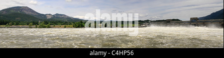 Bonneville Lock and Dam Columbia River and Table Mountain Panorama - Stock Photo