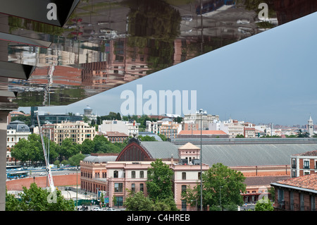 View of Atocha train station from roof terrace of Museo Reina Sofía, Queen Sofia Museum, Madrid, Spain - Stock Photo